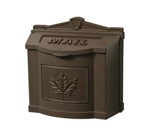 Bronze Wall Mount Mailbox with Bronze Leaf Emblem