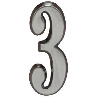 """Whitehall Brushed Nickel 4.75"""" House Address Numbers Number """"3"""""""