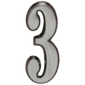 "Whitehall Brushed Nickel 4.75"" House Address Numbers Number ""3"""