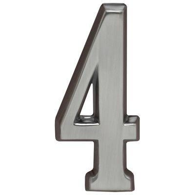 """Whitehall Brushed Nickel 4.75"""" House Address Numbers Number """"4"""""""