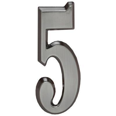 "Whitehall Brushed Nickel 4.75"" House Address Numbers Number ""5"""