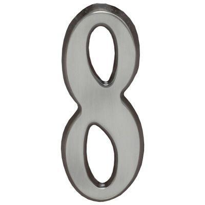 """Whitehall Brushed Nickel 4.75"""" House Address Numbers Number """"8"""""""
