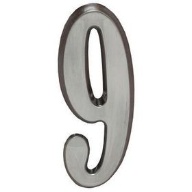 "Whitehall Brushed Nickel 4.75"" House Address Numbers Number ""9"""