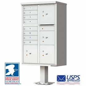 CBU Commercial Mailboxes - 8 Door with 4 Parcel Lockers - Gray