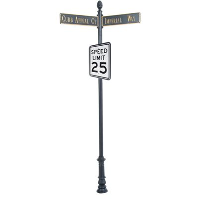 """Century Round Post Street Sign with Cast Blades and 24"""" Rectangle Sign"""