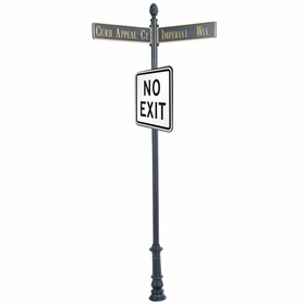 """Century Round Post Street Sign with Cast Blades and 24""""Square Sign"""