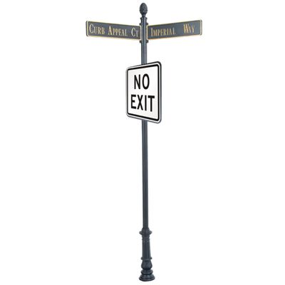 "Century Round Post Street Sign with Cast Blades and 24""Square Sign"