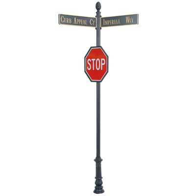 """Century Round Post Street Sign with Cast Blades and 24"""" Stop Sign"""