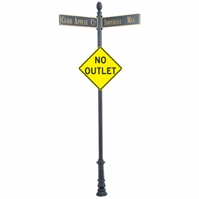 """Century Round Post Street Sign with Cast Blades and 30"""" Diamond Sign"""