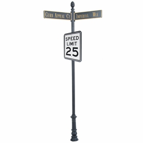 """Century Round Post Street Sign with Cast Blades and 30"""" Rectangle Sign"""