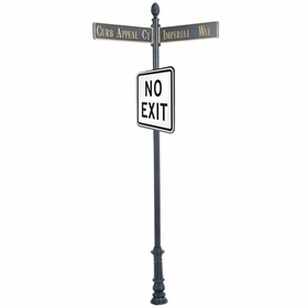 """Century Round Post Street Sign with Cast Blades and 30"""" Square Sign"""