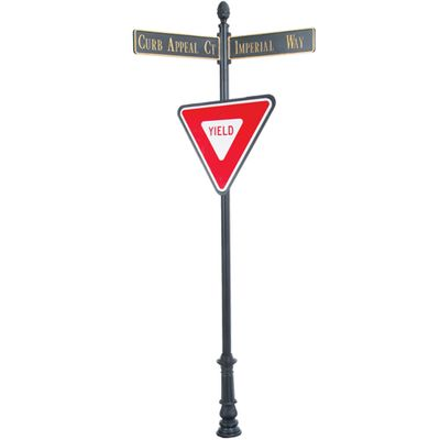 """Century Round Post Street Sign with Cast Blades and 30"""" Yield Sign"""