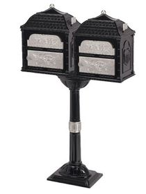 Classic Double Mount Pedestal Mailbox with Satin Nickel Accents (Choose Mailbox Color)