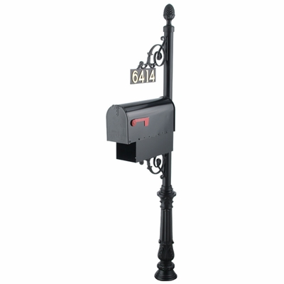 Classic Mailbox Post System Series C1 with Finial, Number Plate, & Newspaper Holder