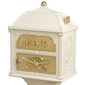 Classic Mailbox Top - Almond with Polished Brass Accents