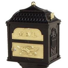 Classic Mailbox Top - Black with Polished Brass Accents