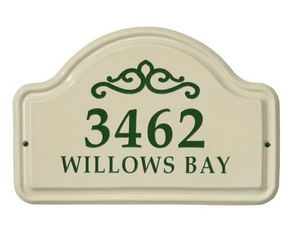 Whitehall Classic Scroll Ceramic Arch - Two Line Standard Wall Plaque - Green