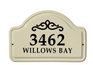 Whitehall Classic Scroll Ceramic Arch - Two Line Standard Wall Plaque - Black