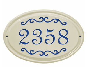 Whitehall Classic Scroll Ceramic Oval - Standard Wall Plaque - One Line - Dark Blue