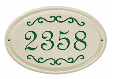 Whitehall Classic Scroll Ceramic Oval - Standard Wall Plaque - One Line - Green