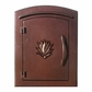 Manchester Security Locking Column Mount Mailbox with Decorative Agave Emblem in Antique Copper (Stucco Column Not Included)