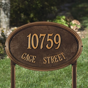 Concord Oval Estate Lawn Address Sign - Two Line