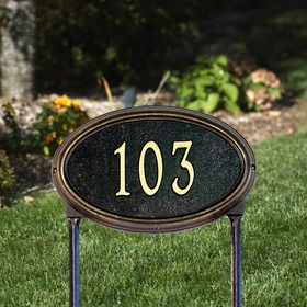 Concord Oval Standard Lawn Address Sign - One Line