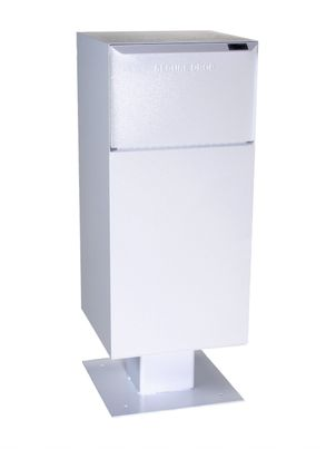 Curbside Parcel Locking Mailbox with Rear Access and Pedestal (included) - White