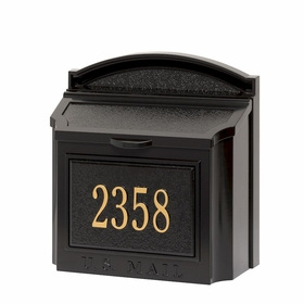 Whitehall Custom Wall Mount Mailbox with Removable Locking Insert - Black (Includes Personalized Address Plaque)