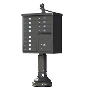 Cluster Box Unit With Finial Cap and Traditional Pedestal Accessories in Dark Bronze - 12 Compartments