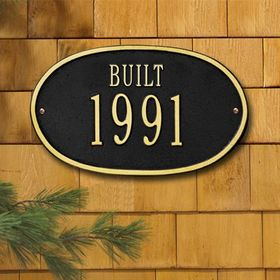 "Date Plaque - Standard Wall - ""Built"" One Line - Black"
