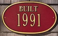 """Whitehall Date Plaque - Standard Wall - """"Built"""" One Line - Red"""