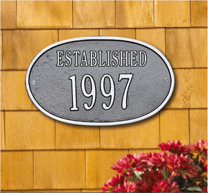 "Date Plaque - Standard Wall - ""Established"" One Line"