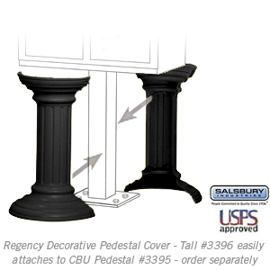 Salsbury 3396BLK Decorative Pedestal Cover-Tall - Black