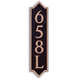 Large Vertical Wall Mount Address Plaque Copper Black - Pointed