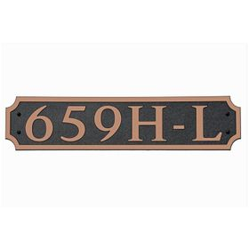 Large Horizontal Wall Mount Address Plaque Copper Black - Square