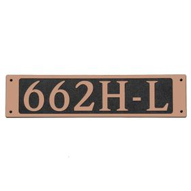 Large Rectangular Wall Mount Horizontal Address Plaque Copper Black