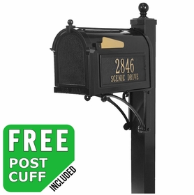 Whitehall Deluxe Streetside Mailbox Package in Black