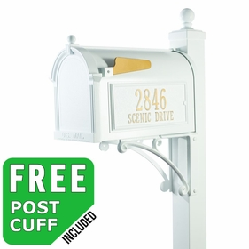 Whitehall Deluxe Streetside Mailbox Package in White