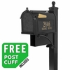 Whitehall Westwood Streetside Mailbox Package with Newspaper Holder in Black