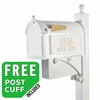 Whitehall Westwood Streetside Mailbox Package with Newspaper Holder in White