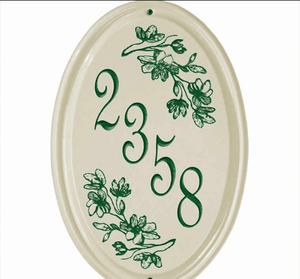 Whitehall Dogwood Ceramic Oval - Vertical One Line Standard Wall Plaque - Green