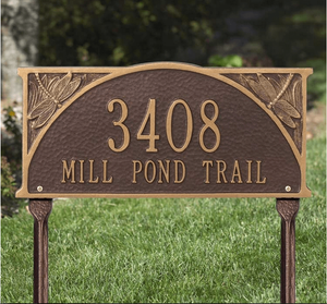 Dragonfly Standard Lawn Address Sign - Two Line