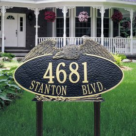 Eagle Oval - Two Line - Estate Lawn Address Sign