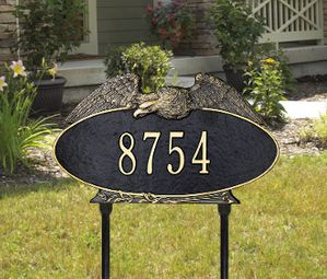 Eagle Oval - One Line - Standard Lawn Address Sign