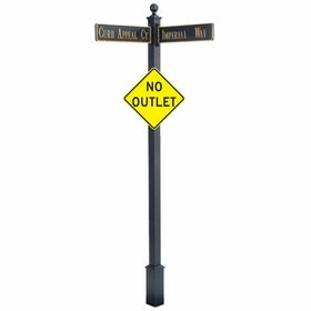 """Estate Square Post Street Sign with Cast Blades and 24"""" Diamond Sign"""
