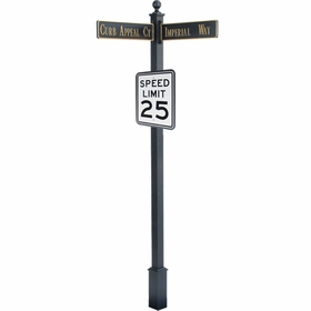 "Estate Square Post Street Sign with Cast Blades and 24"" Rectangle Sign"