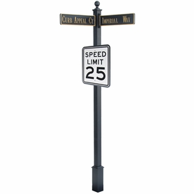 "Estate Square Post Street Sign with Cast Blades and 30"" Rectangle Sign"