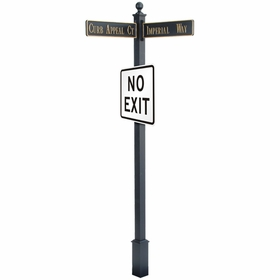 "Estate Square Post Street Sign with Cast Blades and 30"" Square Sign"