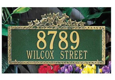 Estate Size Ivy Wall or Lawn Plaque - (1 or 2 lines)